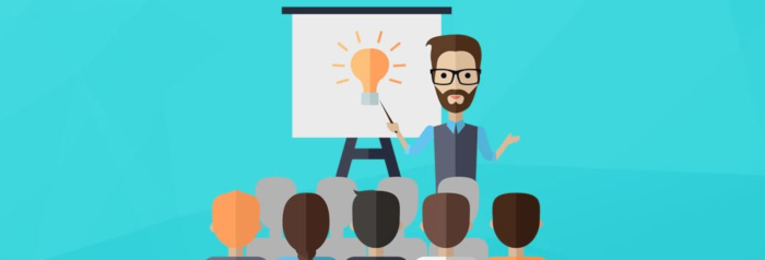 illustrated graphic of instructor presenting to a class with a projector